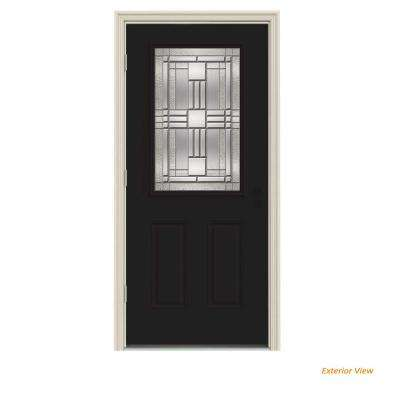 36 in. x 80 in. 1/2 Lite Cordova Black Painted Steel Prehung Right-Hand Outswing Front Door w/Brickmould
