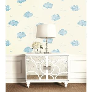 Kids Daydream White And Sky Blue Wallpaper