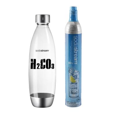 H2CO3 Carbonating Bottle in Stainless Steel and CO2 Cylinder Combo Pack