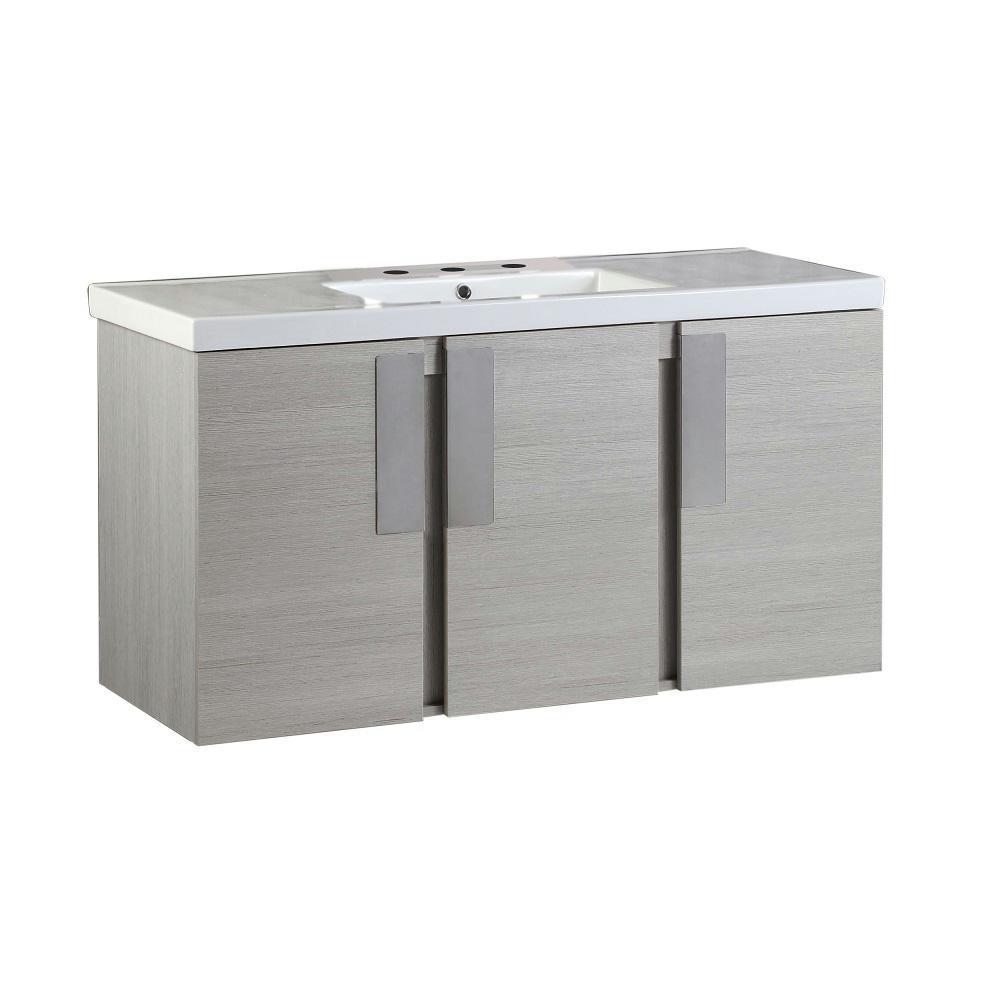 Carmel 48 in. W x 18.31 in. D x 25.59 in. H Single Vanity in Gray Pine with Ceramic Vanity Top in White with White Basin