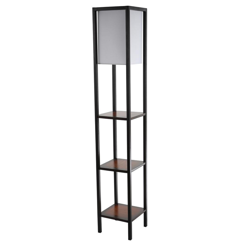 Rista 58.5 in. Cherry/Black Shelf Floor Lamp