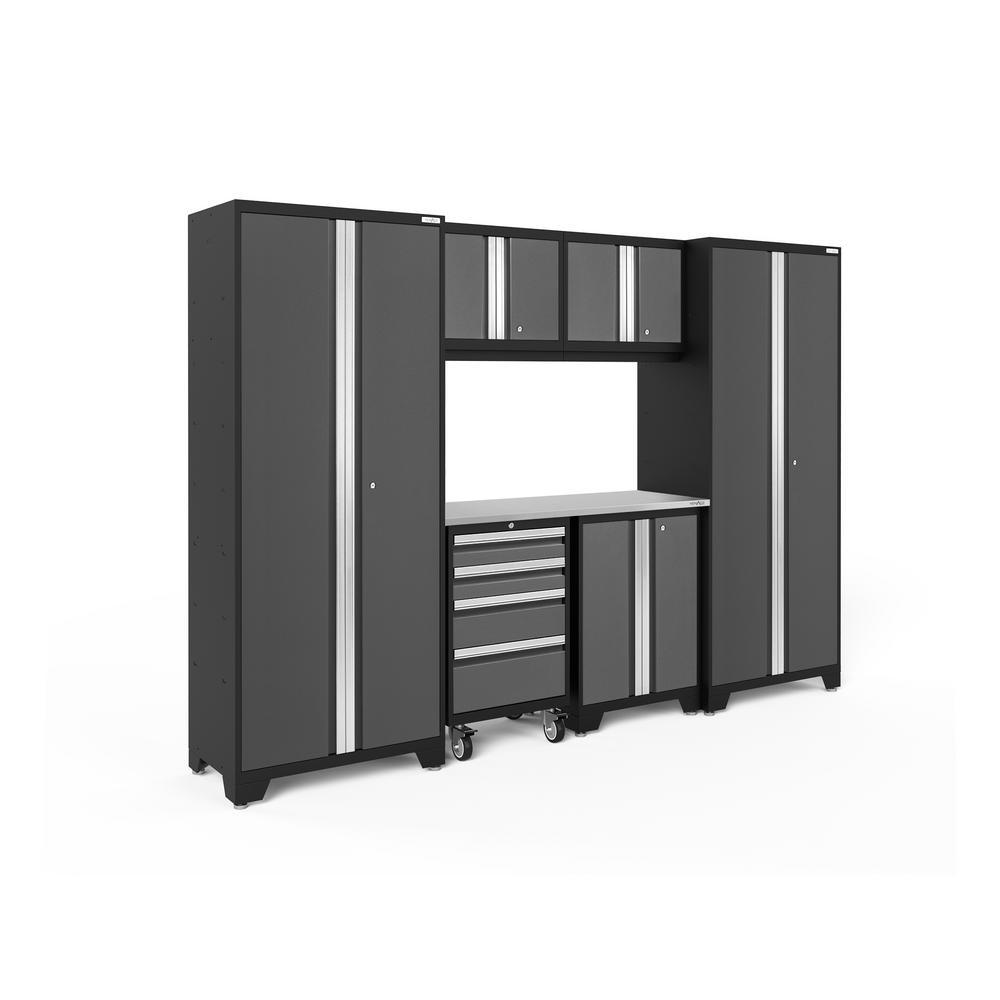 Bold 3.0 108 in. W x 77.25 in. H x 18 in. D 24-Gauge Welded Steel Stainless Steel Worktop Cabinet Set in Gray (7-Piece)