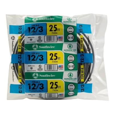 25 ft. 12/3 Gray Solid CU UF-B W/G Wire