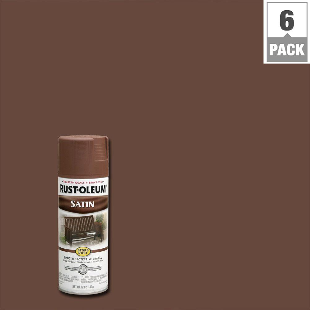 12 oz. Protective Enamel Satin Chestnut Brown Spray Paint (6-Pack)