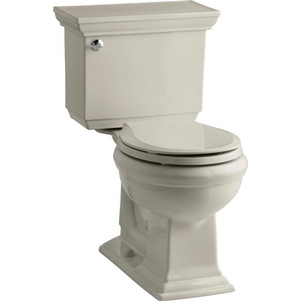 KOHLER Memoirs Stately 2-piece 1.28 GPF Single Flush Round Toilet with AquaPiston Flushing Technology in Sandbar