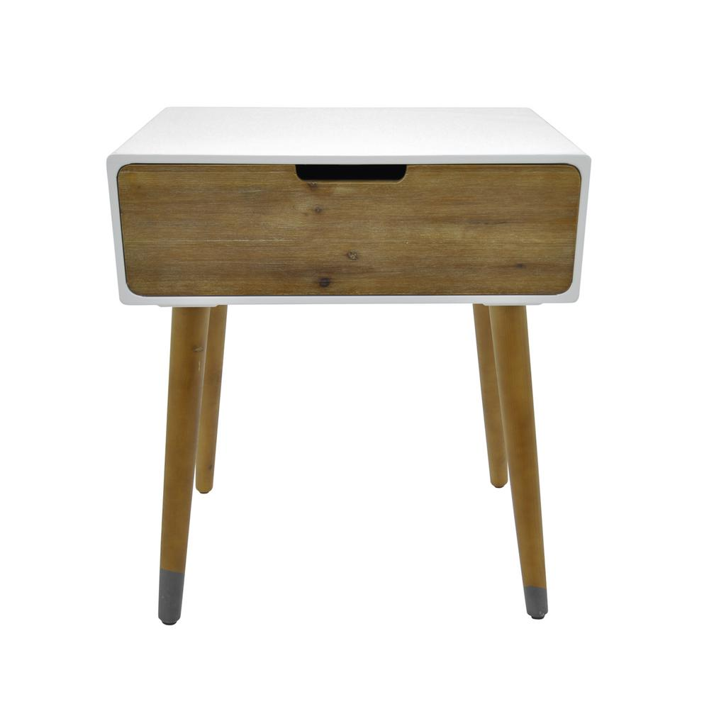 White Side Table With 1 Drawer