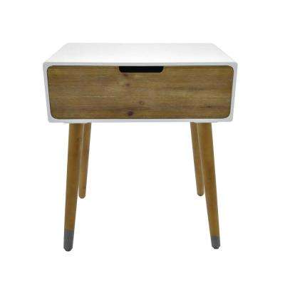 23.75 in. White Side Table with 1-Drawer
