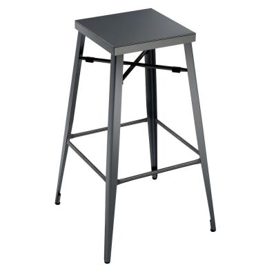 Timon 26 in.  Gun Metal Industrial Style Bar Stool (Pack of 2)