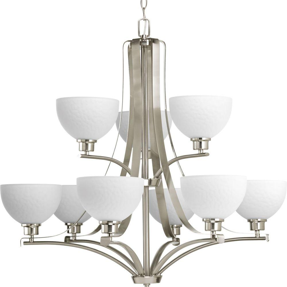Legend Collection 9-Light Brushed Nickel Chandelier with Shade with Sculpted