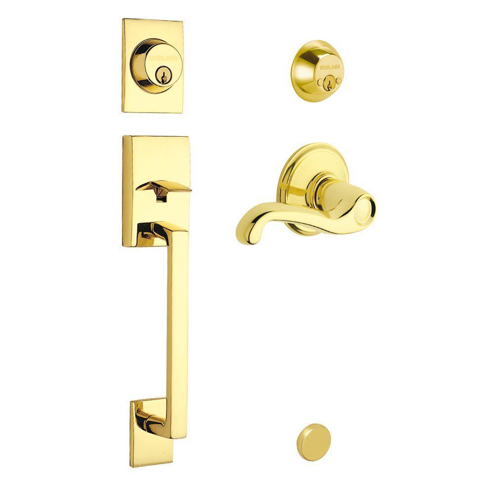 Schlage Century Double Cylinder Bright Brass Left-Hand Handleset with Flair Interior Lever