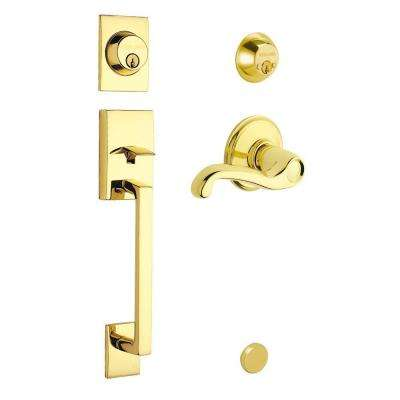 Century Double Cylinder Bright Brass Left-Hand Handleset with Flair Interior Lever