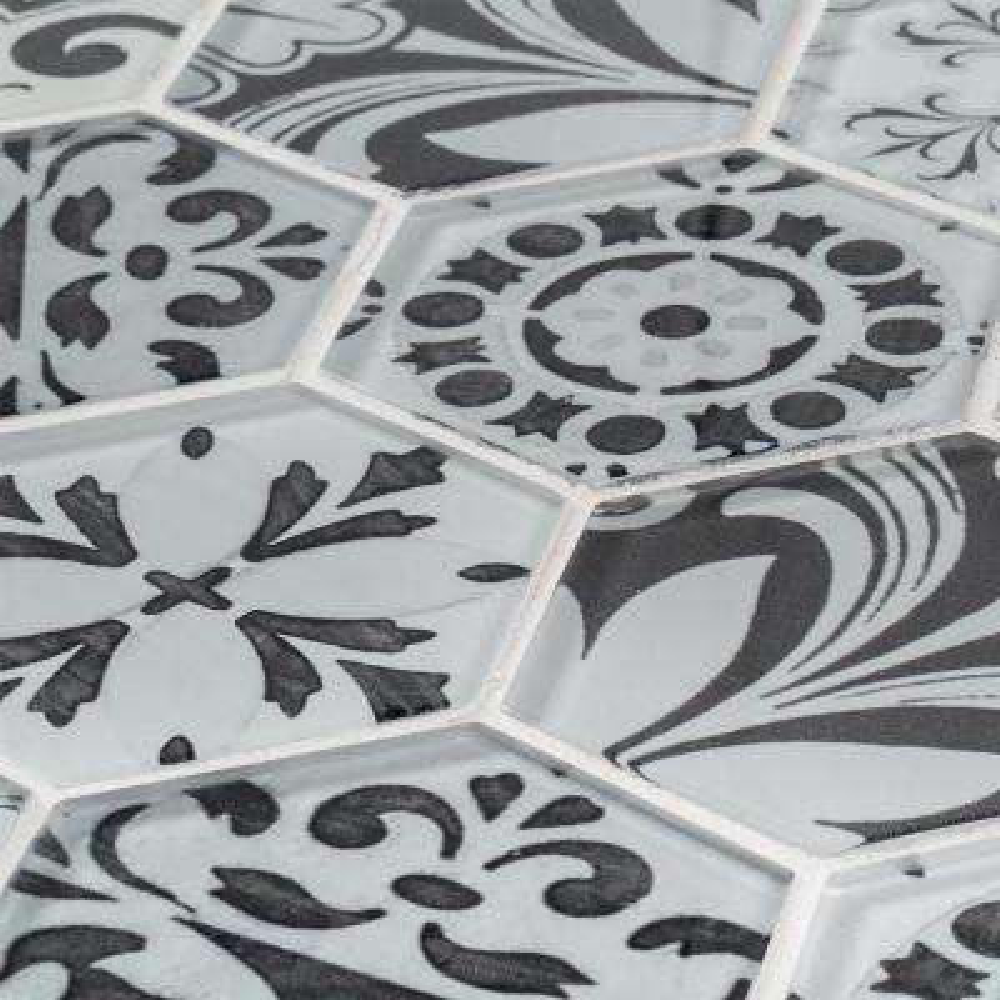 Morris Block 11.50 in. x 13.75 in. x 6 mm Hexagon Glossy Glass Mosaic Tile