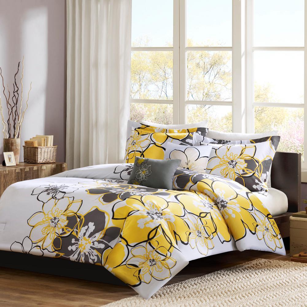 Mi Zone Skylar 3 Piece Yellow Grey Twin Xl Print Comforter Set