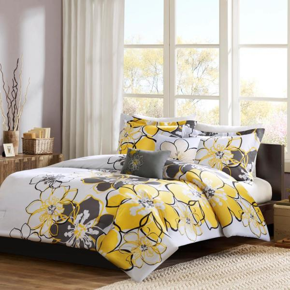 Mi Zone Skylar 4 Piece Yellow Grey Full, Yellow And Gray Bedding Queen