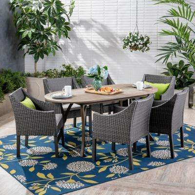 Vermont Gray 7-Piece Wood and Wicker Outdoor Dining Set with Gray Cushions