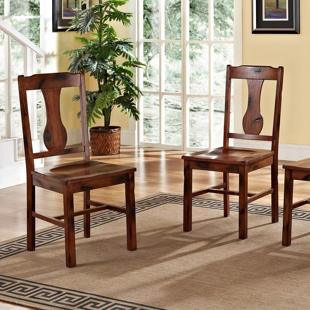 Walker Edison Furniture Company Huntsman Dark Oak Wood Dining Chair (Set of 2) : oak kitchen table and chairs set - pezcame.com