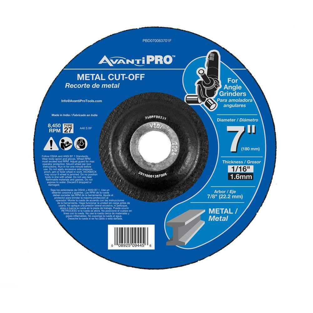 Avanti Pro 7 in. x 1/16 in. x 7/8 in. Metal Cut-Off Disc with Type 27 Depressed Center