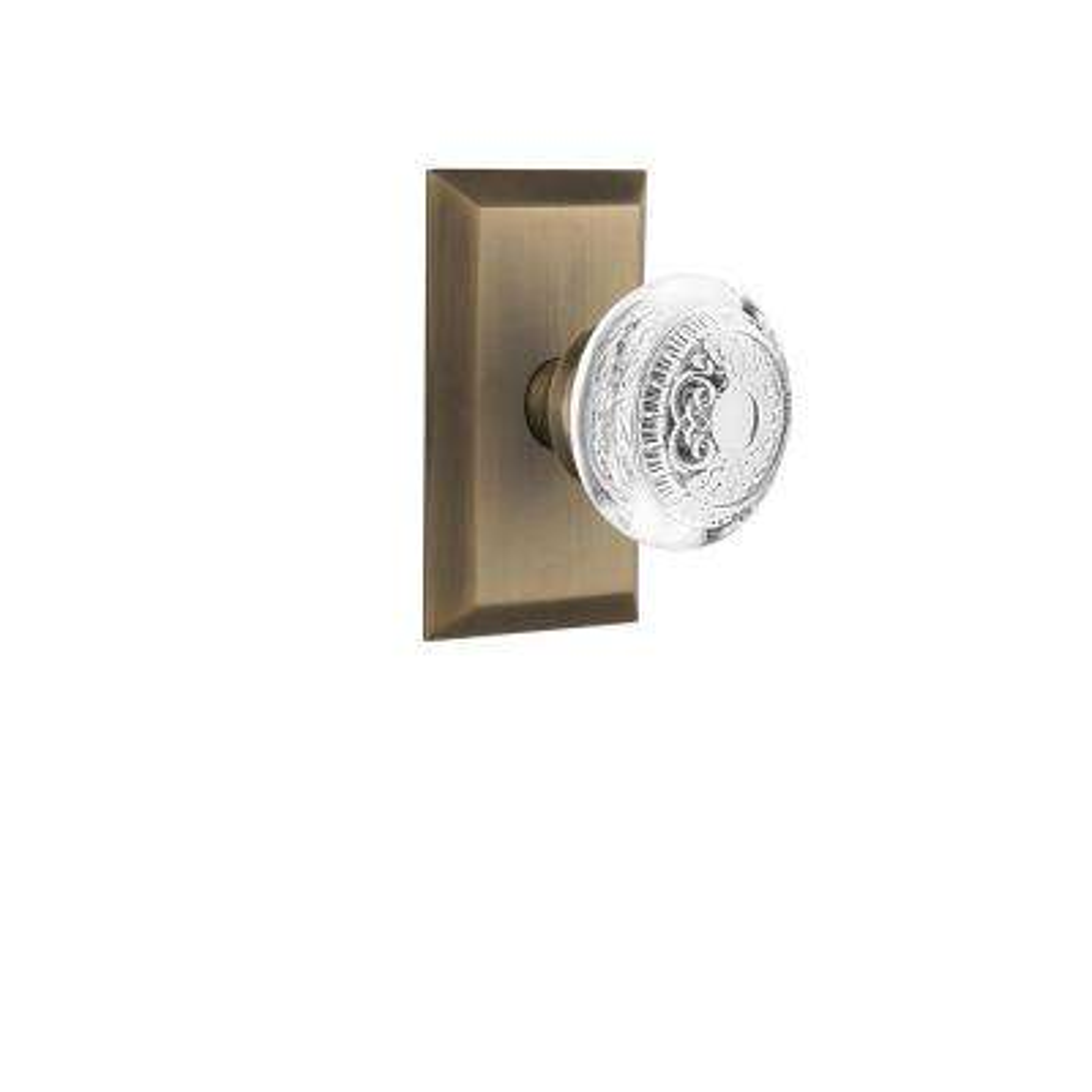 Studio Plate Antique Brass Double Dummy Crystal Egg and Dart Door Knob