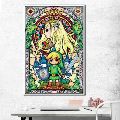 24 in. x 36 in. Legend of Zelda Stained Glass Metal Embellished Gallery Wrapped Canvas
