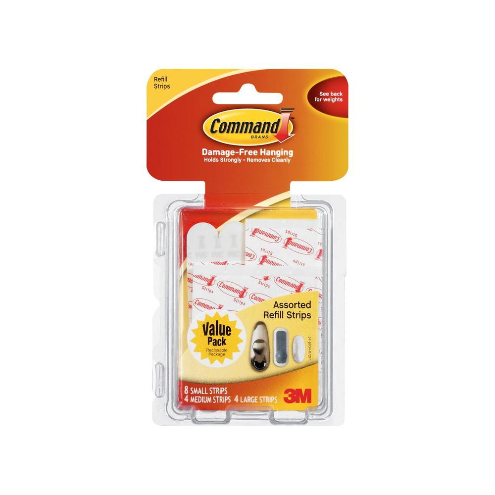 Command Small, Medium and Large Assorted Refill Mounting Strip (16 per Pack)