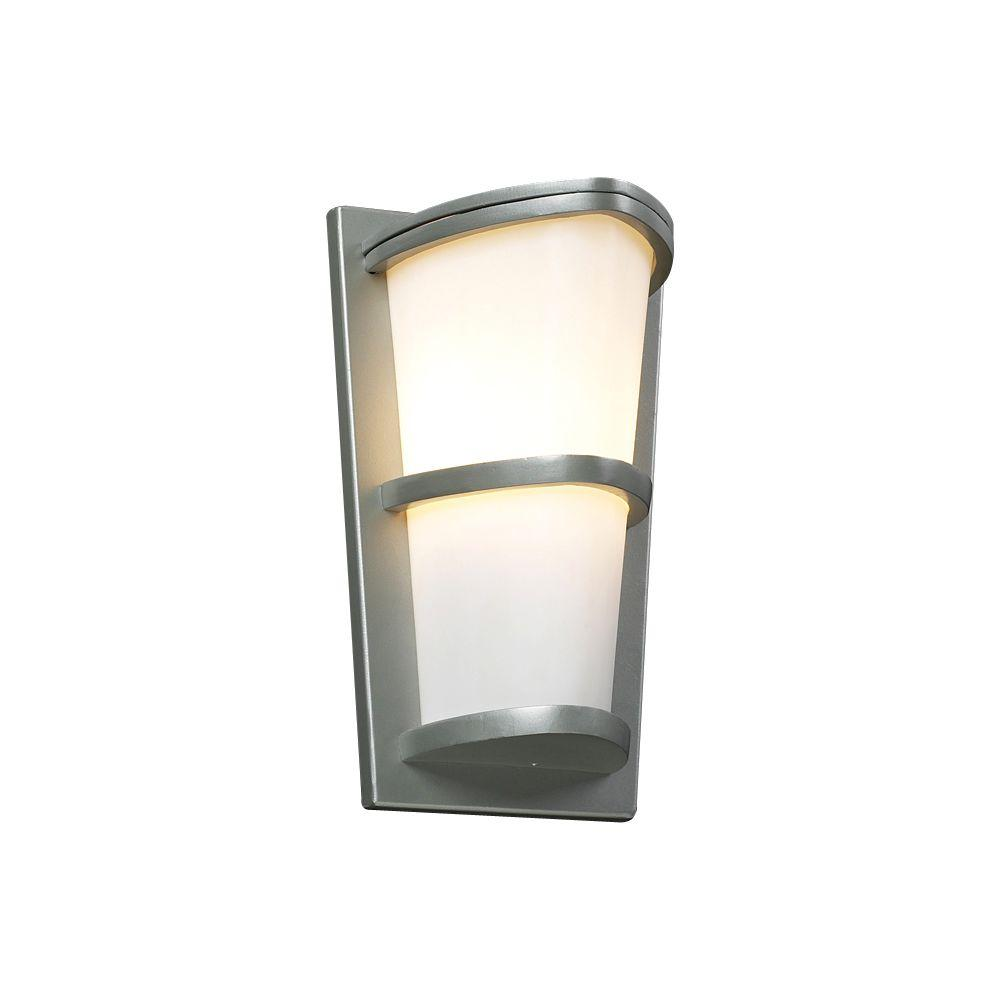 Plc lighting 1 light outdoor silver wall sconce with matte opal glass