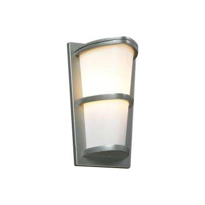 1-Light Outdoor Silver Wall Sconce with Matte Opal Glass