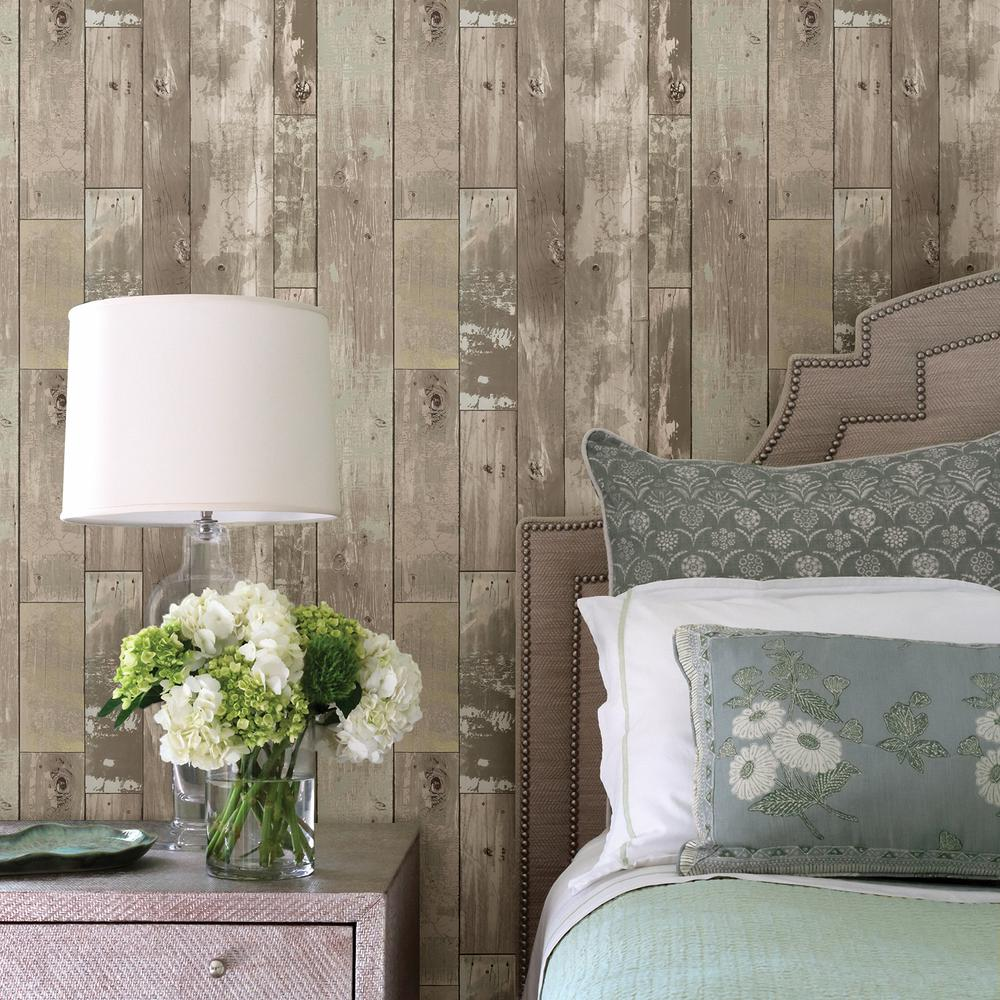 Brewster Heim Taupe Distressed Wood Panel Wallpaper 2718