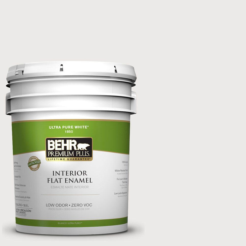 BEHR Premium Plus 5-gal. #1852 White Flat Enamel Interior Paint-DISCONTINUED