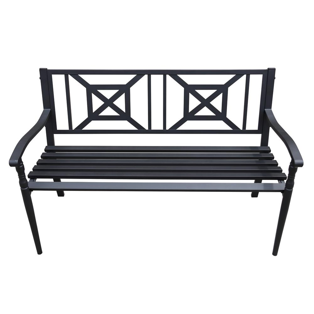 Maypex 4 ft. Steel Outdoor Patio Porch Chair Loveseat Bench