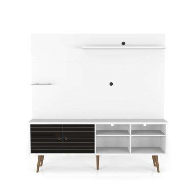 Liberty 70.87 in. White and Black Freestanding Entertainment Center
