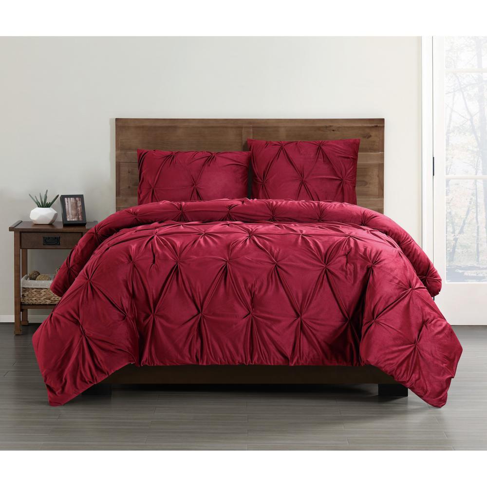 Everyday Pleated Velvet Red King Comforter Set