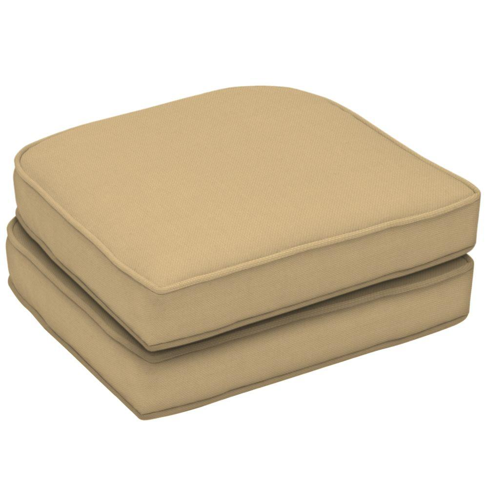 Arden Twilight Tan Texture Wicker Double Welt Seat Pad (Pack Of 2)-DISCONTINUED
