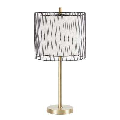 Roxie 23 in. Gold Table Lamp with Linen Shade