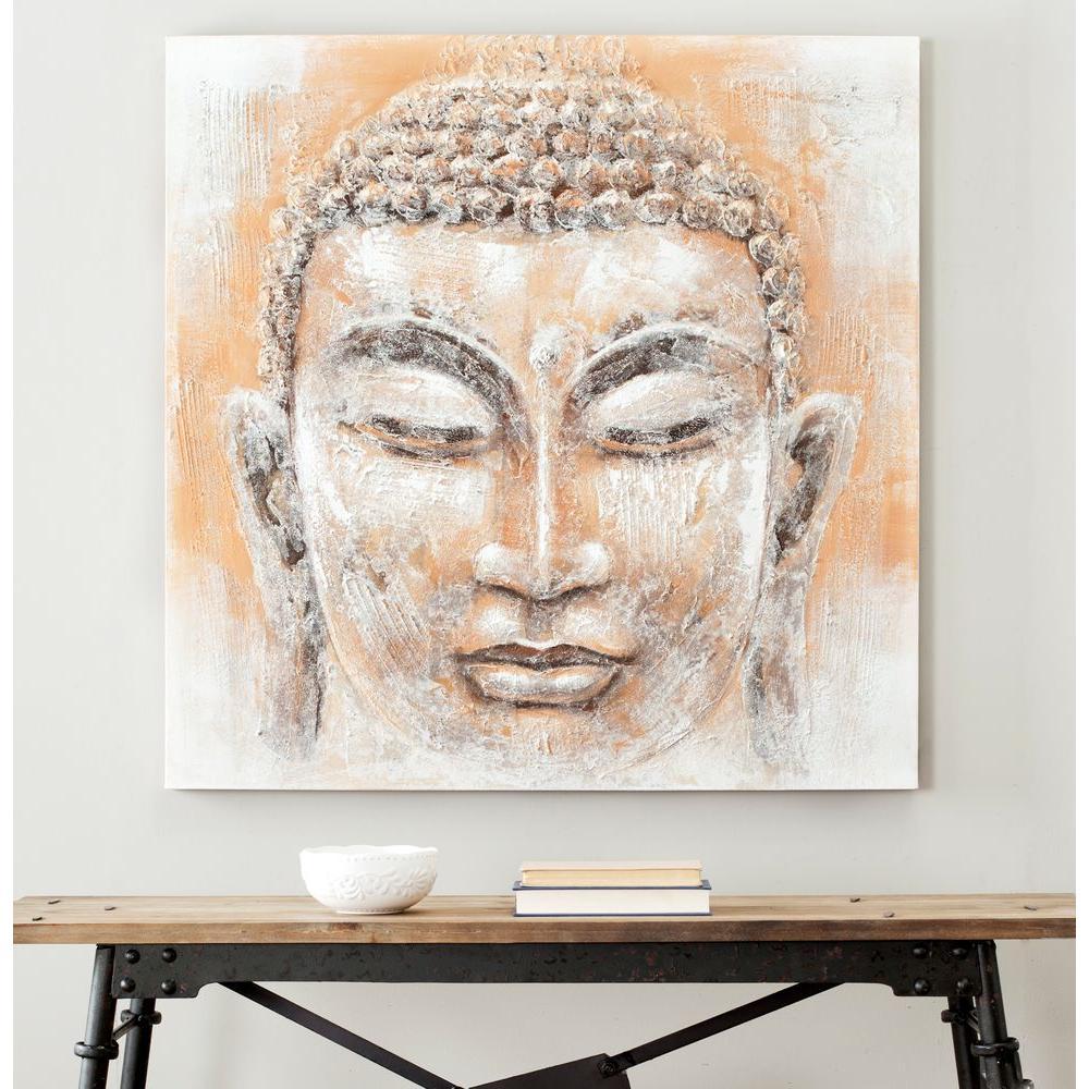"39.3 in. x 39.3 in. ""Orange and White Buddha"" Wall Art"