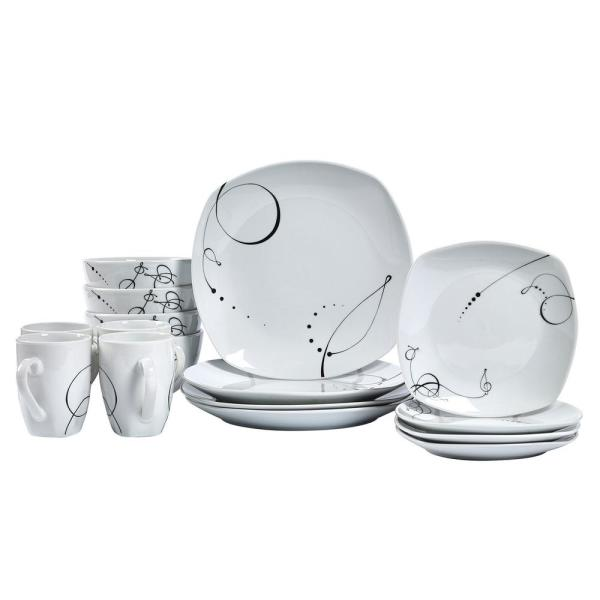 Tabletops Gallery Dinner Set 16-Piece White and Scroll Pattern Dinnerware Set Pescara