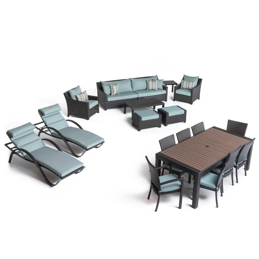 RST Brands Deco 19-Piece Estate Patio Seating Collection with Bliss Blue Cushions