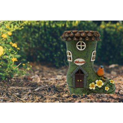 Solar Powered Integrated LED Boot Shaped Gnome House Outdoor Landscape Garden Light