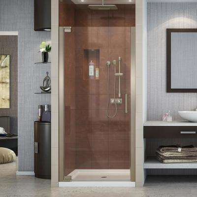 Elegance 32 in. x 32 in. x 74.75 in. Semi-Frameless Pivot Shower Door in Brushed Nickel and Center Drain Shower Base