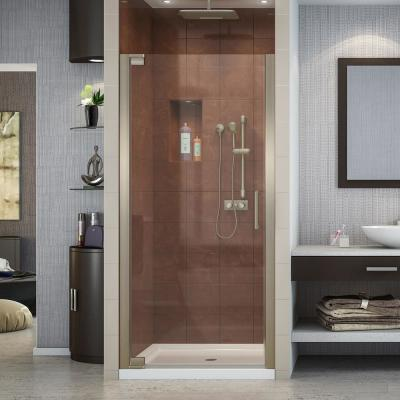 Elegance 30-1/2 in. to 32-1/2 in. x 72 in. Semi-Frameless Pivot Shower Door in Brushed Nickel