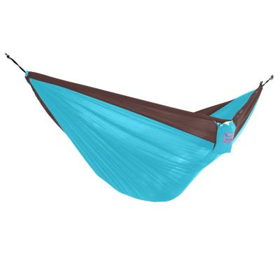 10 ft. Nylon Outdoor Camping Hammock Parachute in Chocolate and Turquoise
