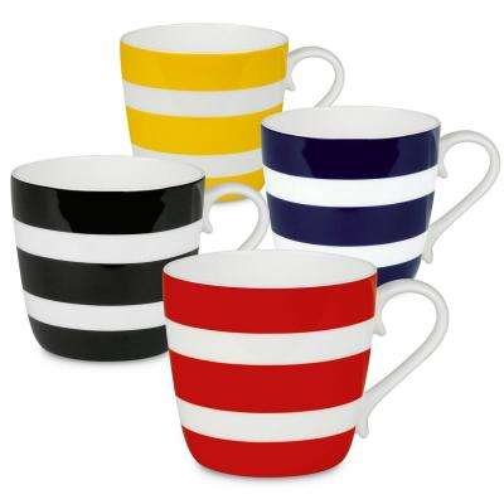 Konitz 4-Piece Assorted Polka Stripes Bone China Mug Set