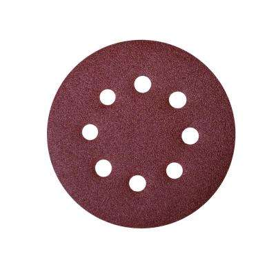 5 in. A/O Hook and Loop 8 Hole Disc Assortment 40-Grit, 80-Grit, 120-Grit, 220-Grit and 320-Grit in Red (100-Pack)