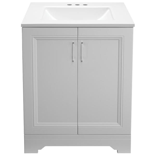 Glacier Bay Willowridge 24 1 2 In W Bath Vanity In Dove Gray With Cultured Marble Vanity Top In White With White Sink Ppavldvr24 The Home Depot