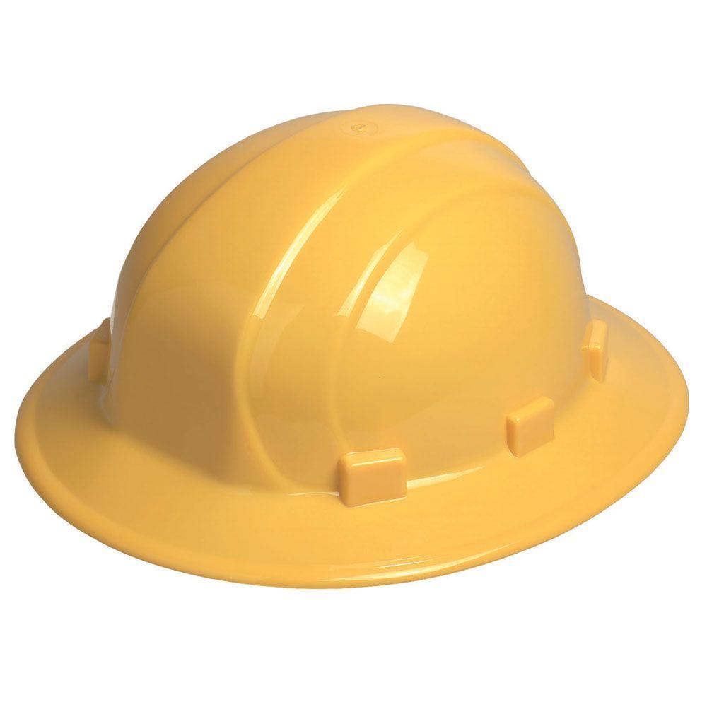 Omega II 6 Point Nylon Suspension Mega Ratchet Full Brim Hard Hat in Yellow