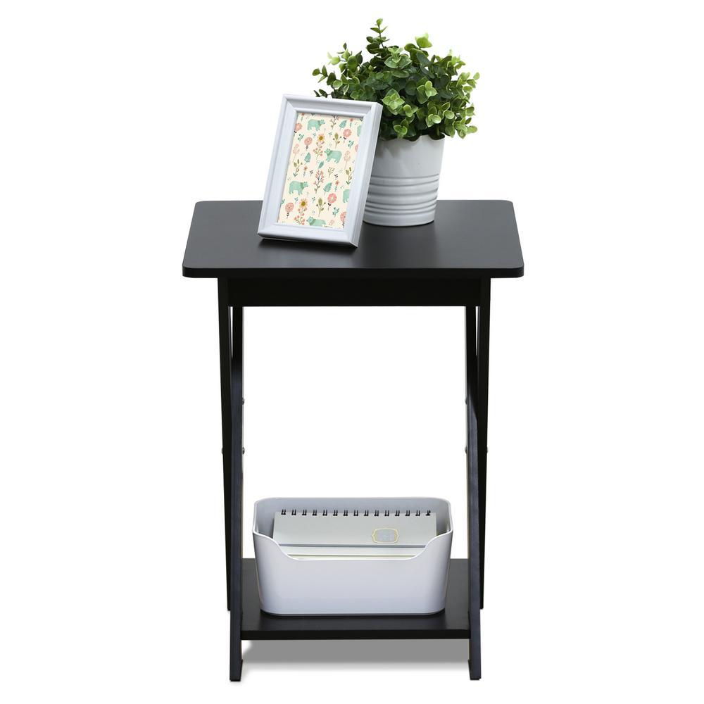 Furinno Modern Simplistic Espresso Criss Crossed End Table