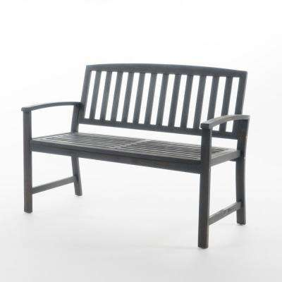 Callum 48.25 in. Dark Grey Finish Acacia Wood Outdoor Bench