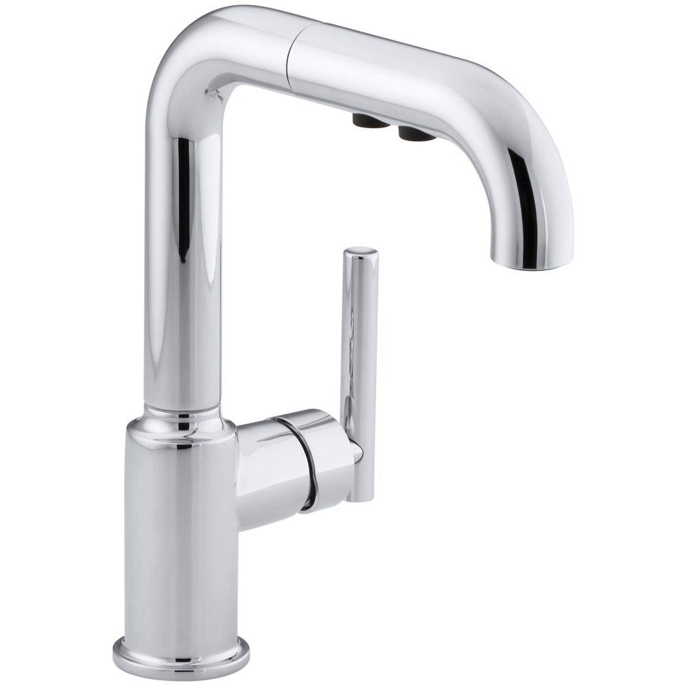Purist Single Handle Pull Out Sprayer Kitchen Faucet In Polished Chrome