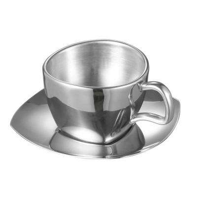 Misto 6 oz. Stainless Steel Double Wall Cup with Saucer
