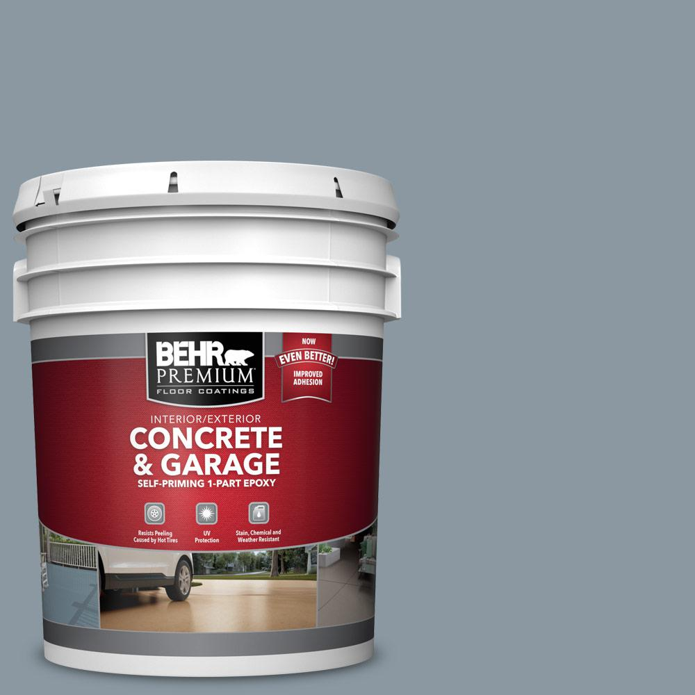 BEHR PREMIUM 5 gal. #N490-4 Teton Blue Self-Priming 1-Part Epoxy Satin Interior/Exterior Concrete and Garage Floor Paint