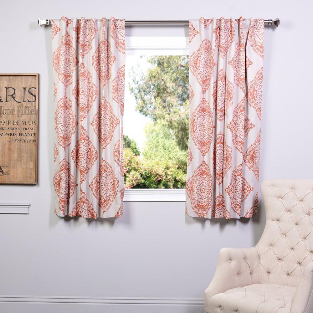 Semi-Opaque Henna Orange Blackout Curtain - 50 in. W x 63 in. L (Panel)